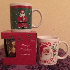 Other - 🎄 3 Santa Clause Christmas Mugs